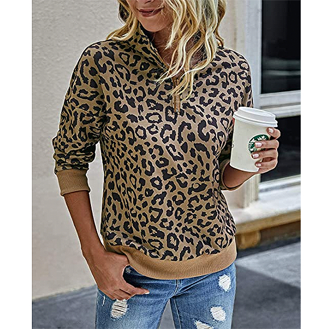 BTFBM Women's Leopard Print Long Sleeve Comfy Zip Up Pullover (Khaki)