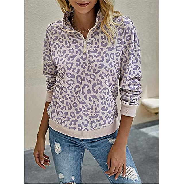 BTFBM Women's Leopard Print Long Sleeve Comfy Zip Up Pullover (Pink)