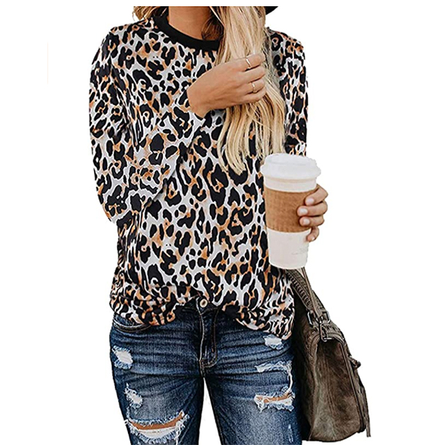 BTFBM Women's Leopard Print Long Sleeve Crew Neck Fit Casual Sweatshirt