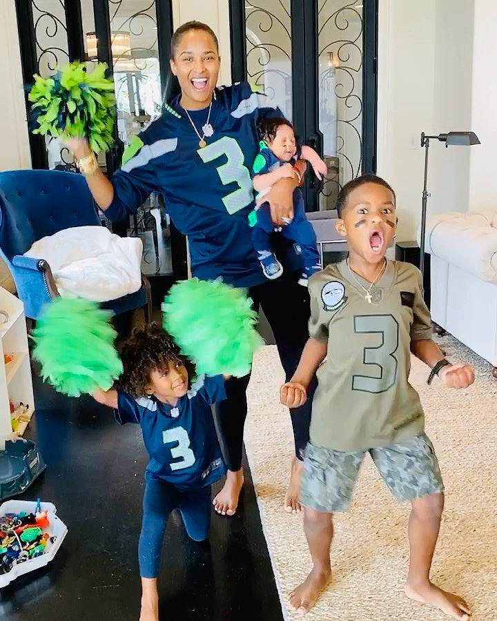 Ciara Dresses 1-Month-Old Son Win in Football Uniform Ahead of Russell Wilson Game