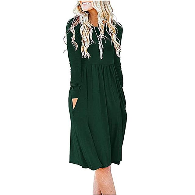 DB MOON Women Casual Long Sleeve Empire Waist Loose Dress with Pockets (Dark Green)