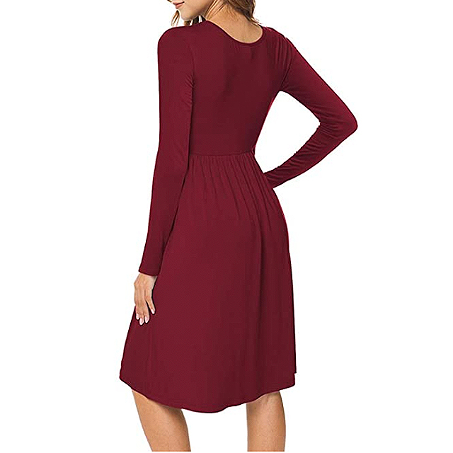 DB MOON Women Casual Long Sleeve Empire Waist Loose Dress with Pockets (Wine Red)