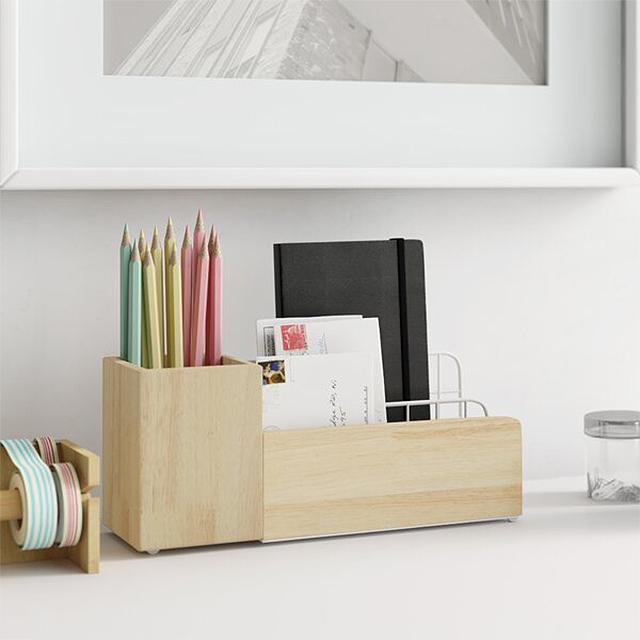 Dotted Line Gino Wood/Metal Desk Organizer Set