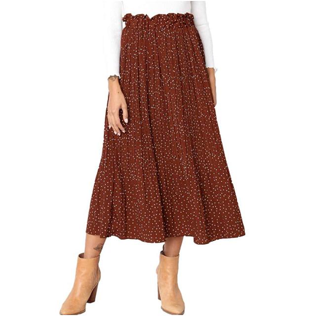 Exlura Falda midi plisada de cintura alta con bolsillos para mujer (café)