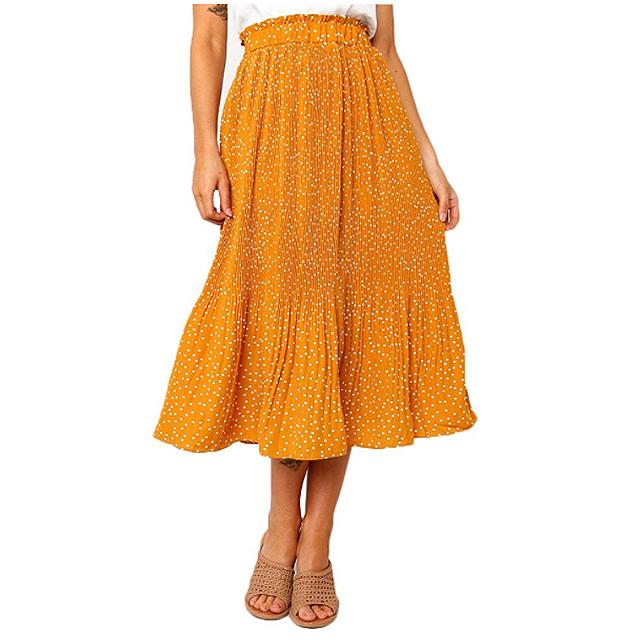 Exlura Women's High Waist Pleated Midi Maxi Swing Skirt with Pockets (Mustard Yellow)