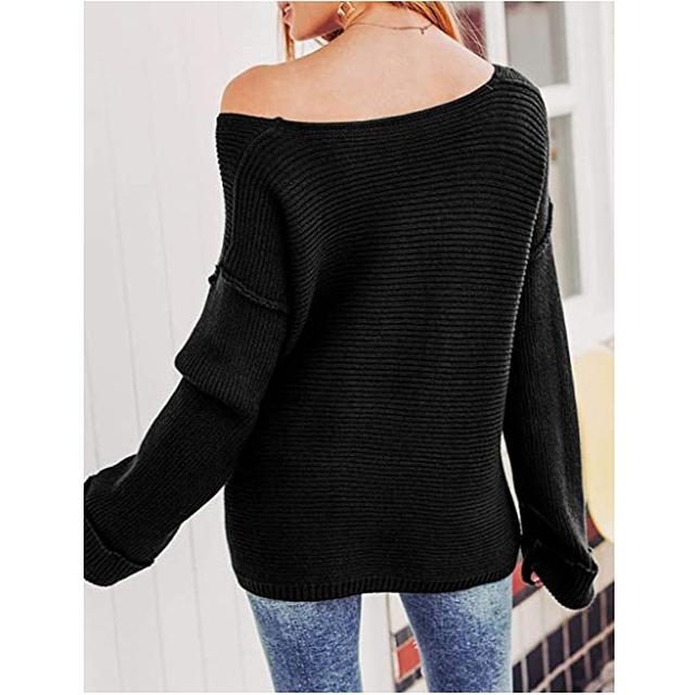 Glamaker suéter de gran tamaño con cuello en V y hombros descubiertos para mujer (negro)