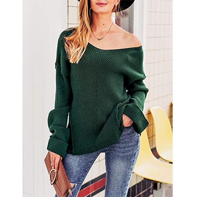 Glamaker suéter de gran tamaño con cuello en V y hombros descubiertos para mujer (verde oscuro)