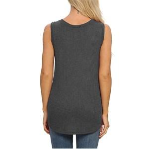 IWOLLENCE Women's Waffle Knit V Neck Tank Top (Dark Gray)