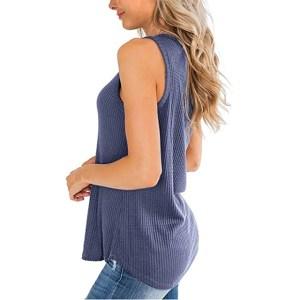 IWOLLENCE Women's Waffle Knit V Neck Tank Top (Purple Gray)