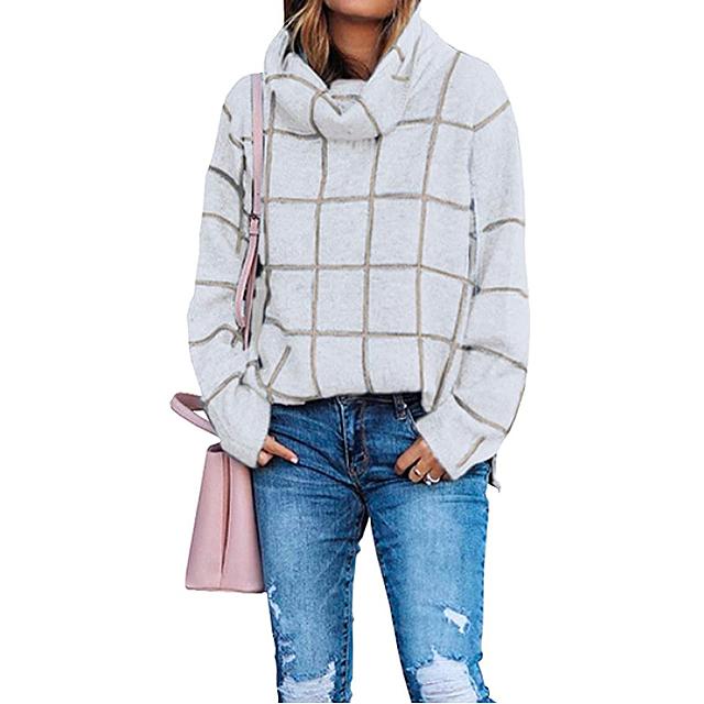 KIRUNDO 2020 suéter de punto de cuello alto para mujer de invierno (beige)