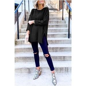 MEROKEETY Women's Casual Crew Neck Side Split Pullover Sweater (Black)