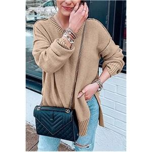 MEROKEETY Women's Casual Crew Neck Side Split Pullover Sweater (Khaki)
