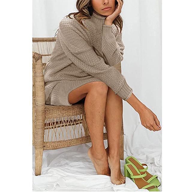 MEROKEETY Women's Turtleneck Long Sleeve Sweater (Khaki)