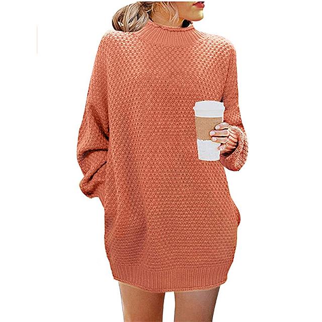 MEROKEETY Women's Turtleneck Long Sleeve Sweater (Orange)