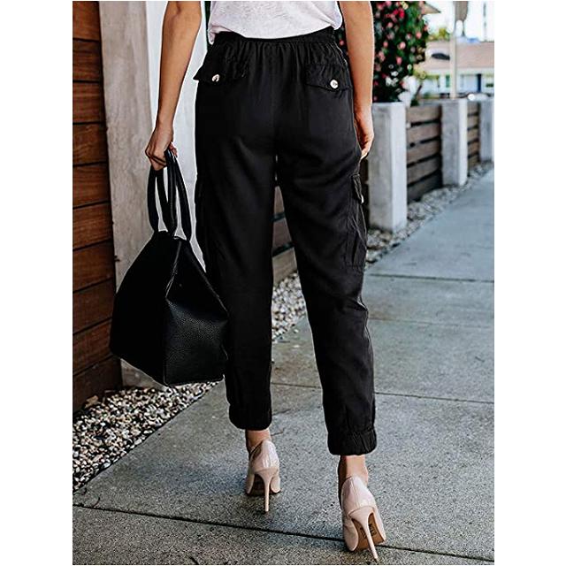 Meilidress Pantalón de jogging informal con cordón y cintura elástica para mujer (Negro)