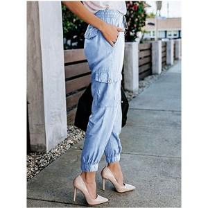 Meilidress Women's Elastic Waist Cargo Casual Drawstring Jogger Trousers (Light Blue)
