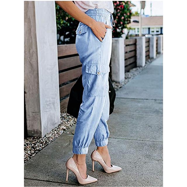 Meilidress Pantalón de jogging informal con cordón y cintura elástica para mujer (azul claro)