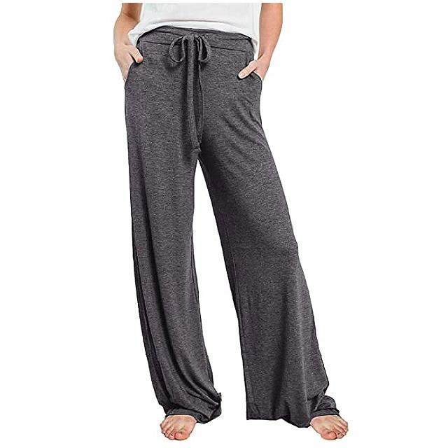 PRETTYGARDEN Pantalones de pijama casuales para mujer (gris oscuro)