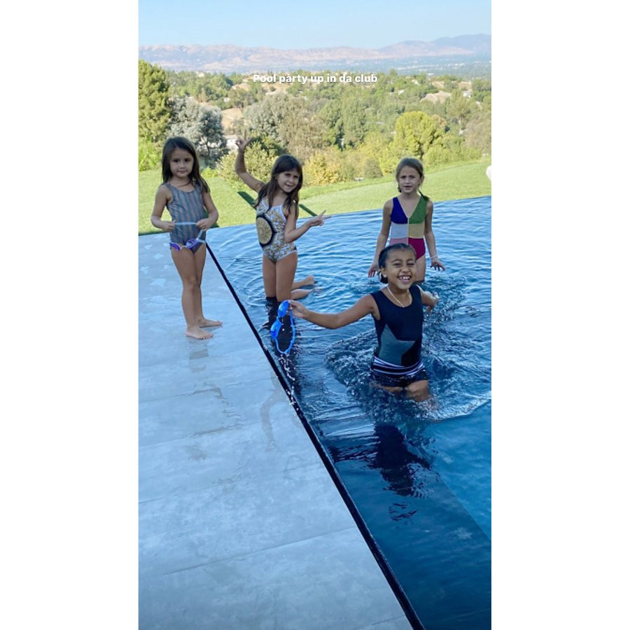 Penelope Disick and North West Playing In A Swimming Pool