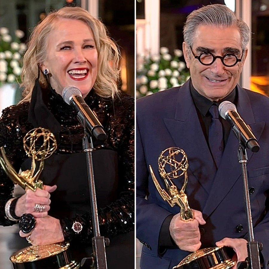 Warmest Regards Schitts Creek Stars Reunite Emmys Win Big Emmys 2020 Catherine OHara Eugene Levy