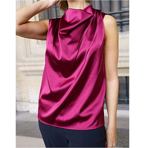 The Drop Women's Burgundy Cowl-Neck Sleeveless Top by @sabthefrenchway