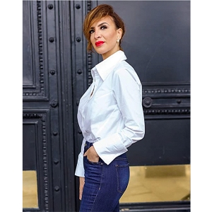 The Drop Women's White Button Down French Cuff Shirt by @sabthefrenchway
