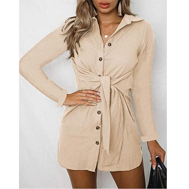 ZESICA Women's V Neck Button Down Front Tie Short Tunic Dress (Khaki)