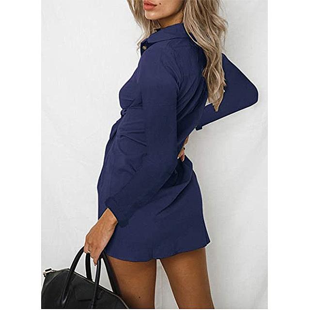 ZESICA Women's V Neck Button Down Front Tie Short Tunic Dress (Navy)
