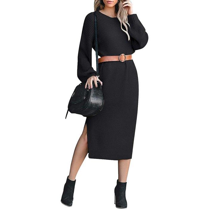 ACKKIA Ribbed Knit Sweater Midi Dress