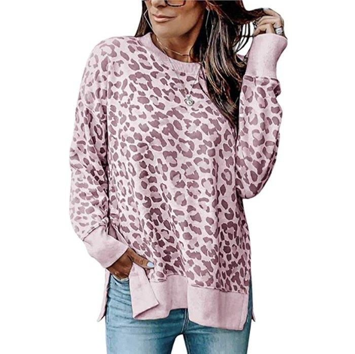 Camiseta tipo túnica con cuello redondo y leopardo informal de Angashion