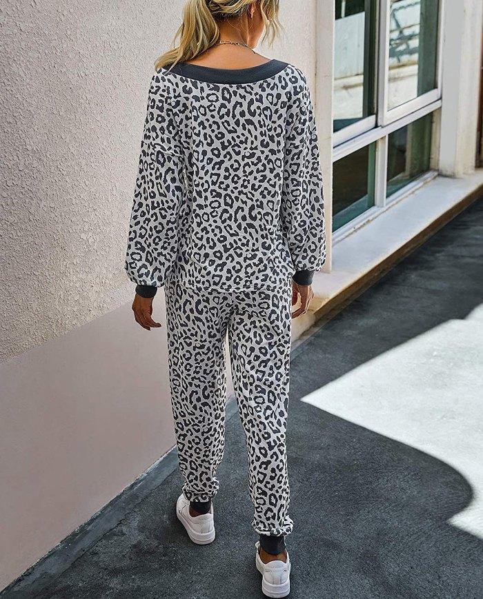 BTFBM Pijama de 2 piezas con estampado de leopardo / teñido anudado