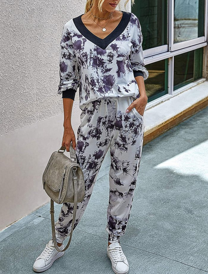 BTFBM leopard print / dye tie two-piece tie pajamas