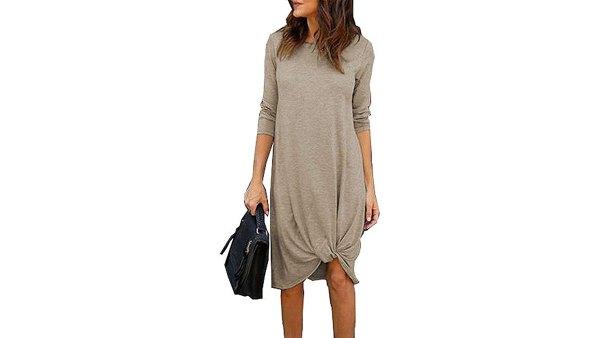 Chvity Long-Sleeve Twist Front Midi Dress