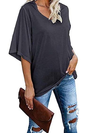 cordat Blusa para mujer, blusa holgada con cuello en V, 3/4, manga de campana (gris oscuro)
