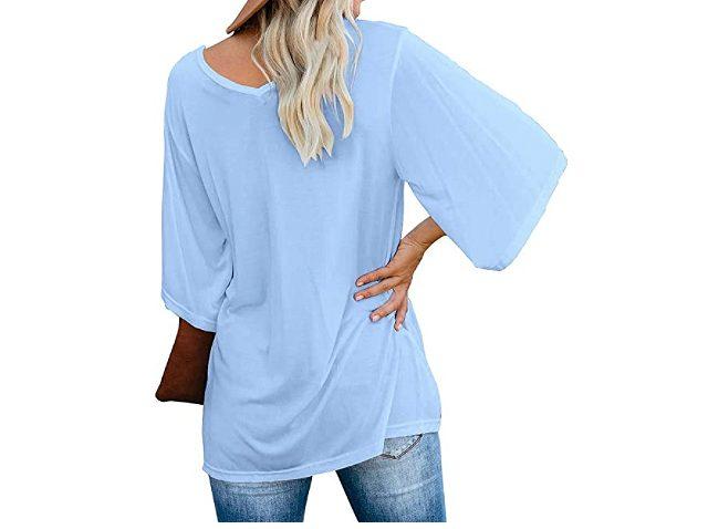 cordat Women's Blouse Tops Loose V Neck 3/4 Bell Sleeve Shirt (Light Blue)