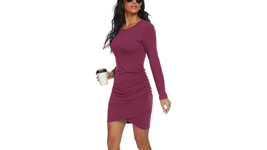 GRECERELLE Long Sleeve Ruched Stretchy Bodycon Dress