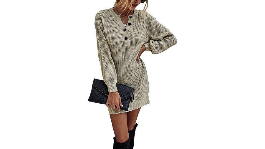 KIRUNDO 2020 Winter Long Sleeve Henley Sweater Dress