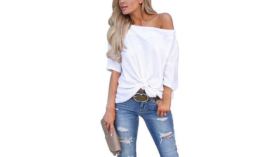 LACOZY Waffle Knit Off The Shoulder Knot Batwing Shirt