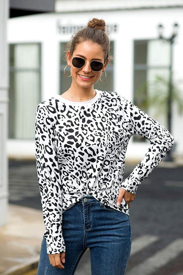 lamibaby camiseta casual de manga larga con estampado de leopardo