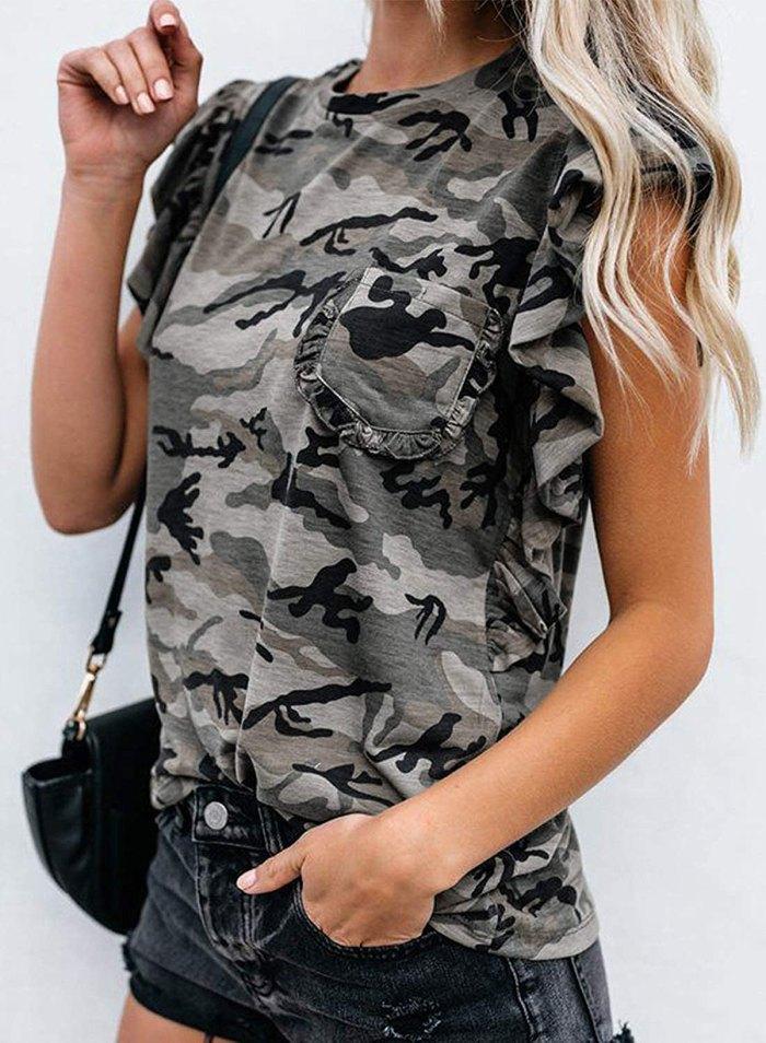 Lovezesent Camo Ruffle T-Shirt