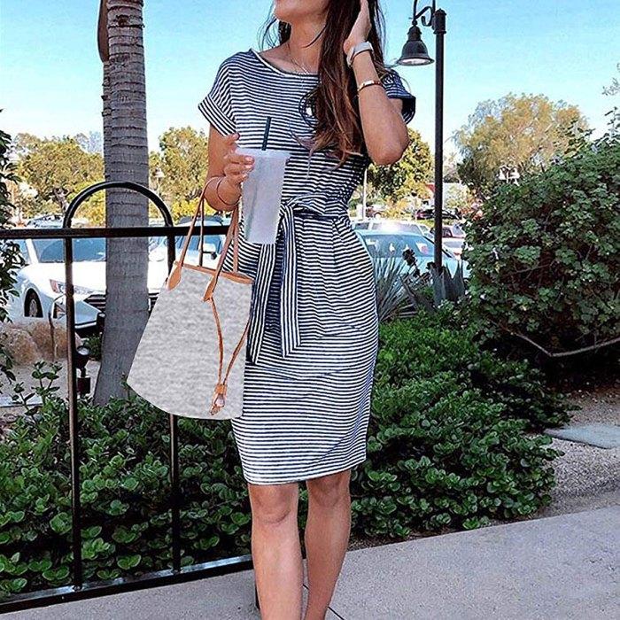 MEROKEETY Striped Short Sleeve T-Shirt Dress