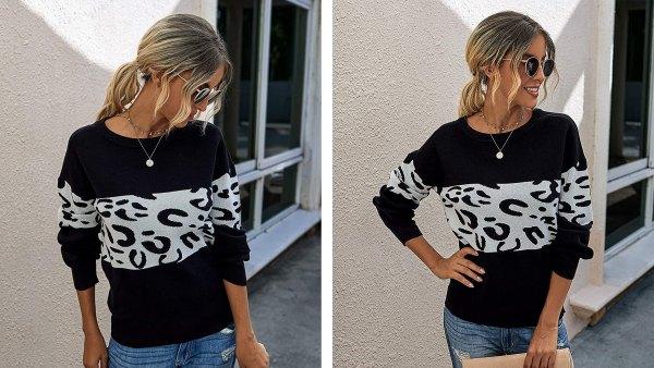 PRETTYGARDEN Long-Sleeve Leopard Print Color-Block Sweater