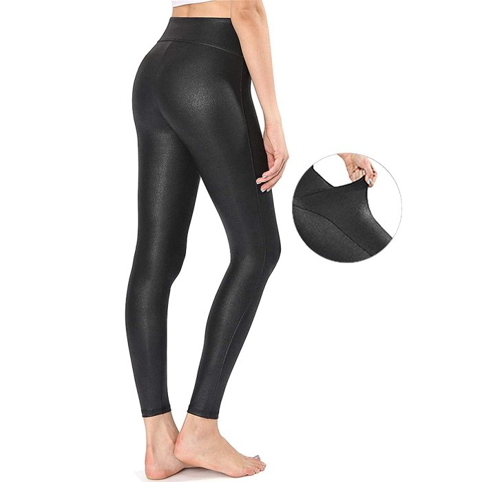Retro Gong Faux-Leather Leggings