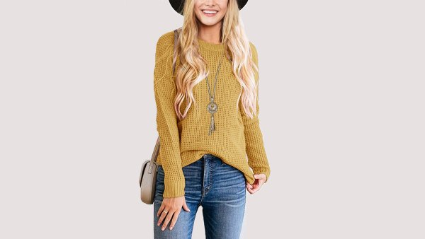 TECREW Waffle Knit Pullover Sweater