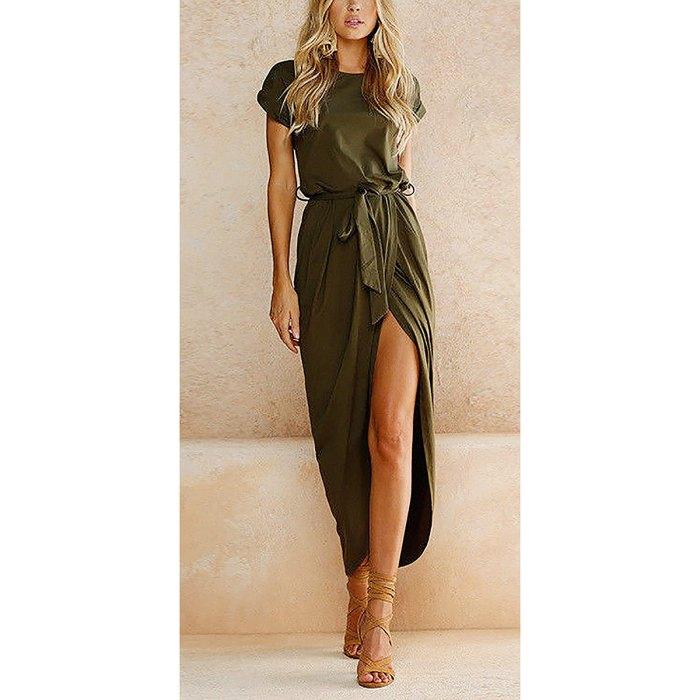 Yidarton Casual Short Sleeve Maxi Dress
