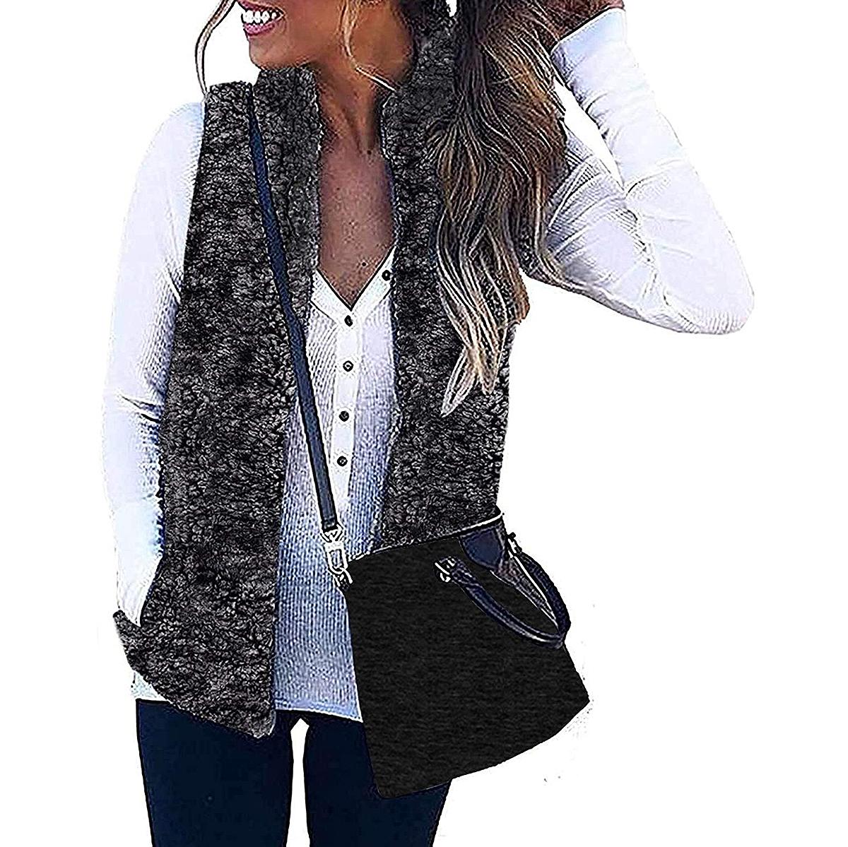 ZESICA Sleeveless Zip Up Fuzzy Fleece Fall Zipper Vest