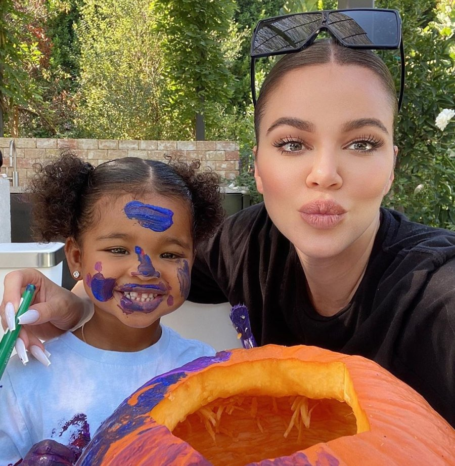 Khloe Kardashian and Tristan Thompson Paint Pumpkins With Daughter True