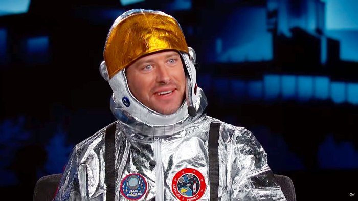 Armie Hammer Visits Jimmy Kimmel Live Wearing A Spacesuit And Explains Why He Turned to Working in Construction Amid the Coronavirus Pandemic