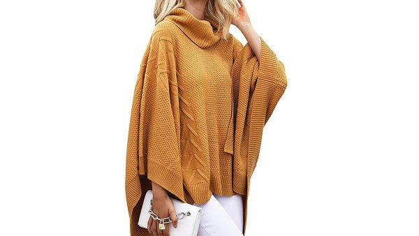 BerryGo Women's Chic Turtleneck Batwing Sleeve Asymmetric Knitted Poncho