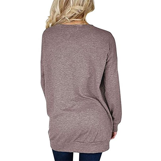 Bingerlily - Top informal de manga larga con cuello redondo y túnica para mujer con bolsillos (marrón)